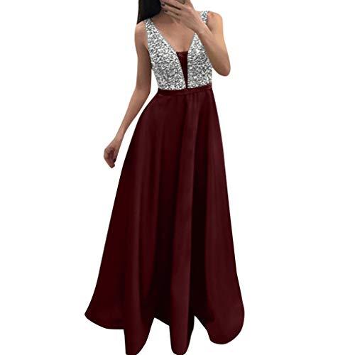 MAYOGO Abschlussball Kleider Damen Kleider Lange V-Ausschnitt Glitzerkleid Sequin Dress Maxikleider Abendkleider Swing Schwingen Kleid Partykleid Ärmelloses