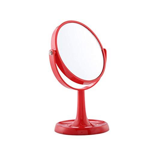 C-J-Xin Espejo redondo de doble cara, espejo de escritorio para dormitorio de niña, 360 °, espejo de belleza portátil, color azul, morado