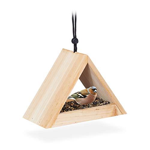 Relaxdays Vogelhaus zum Aufhängen, unbehandelt, Futterhaus für Wildvögel, Garten & Balkon, Holz, HBT 16x23,5x12cm, natur
