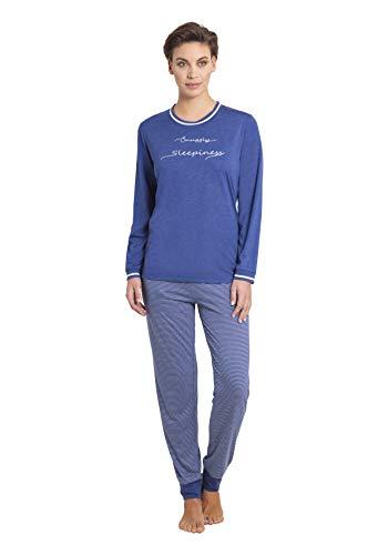 hajo Damen Zweiteiliger Schlafanzug, Blau (jeansmelange 603), 40/42