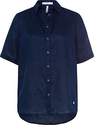 BRAX Damen Style Viana Linen Leinenbluse Uni Bluse, Navy, X-Large (Herstellergröße: 42)