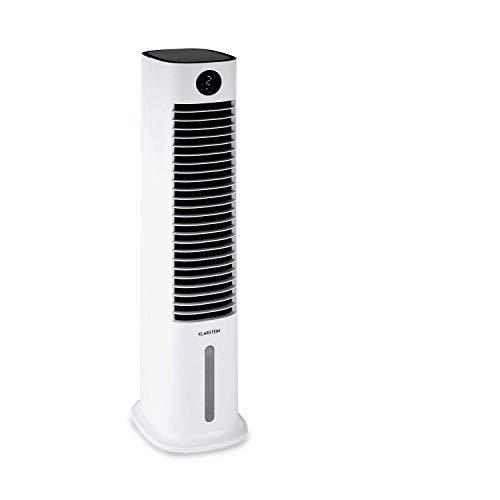 Klarstein Skytower Smart Luftkühler Ventilator Luftreiniger Luftbefeuchter, WLAN-Funktion, App-Control, Luftdurchsatz: 480 m³/h, 80 W, 8 Liter, 2 x Kühlakku, waagerechte Oszillation, weiß