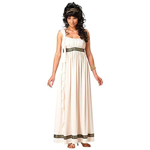 BYYDYSRFLO Vestido gtico Steampunk de la Antigua Grecia para Mujer, Vestido Medieval de Diosa egipcia, Apto para Carnaval, Fiesta de Cosplay de Halloween(Color:White,Size:M)