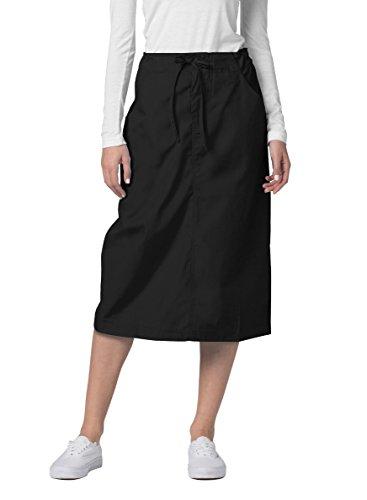 Adar Universal Scrub Skirts for Women - Mid-Calf Drawstring Scrub Skirt - 707 - Black - 14