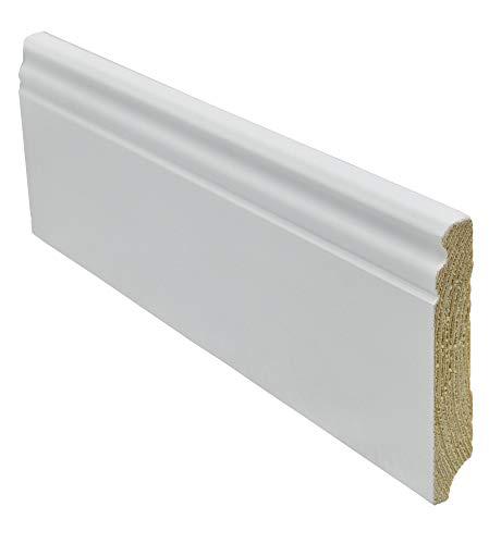 12 Meter Sockelleiste Berliner-Hamburger-Profil 96mm hoch 16mm stark 2400mm lang Fußleiste weiß lackiert Kiefer Massivholz, Farbe:weiß