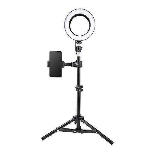 Lámpara de anillo LED de llenado de llenado de led de 6 pulgadas Lámpara de escritorio Lámpara de escritorio con trípode plegable portátil Clip de teléfono móvil Puerto USB, para fotografía Selfie Liv