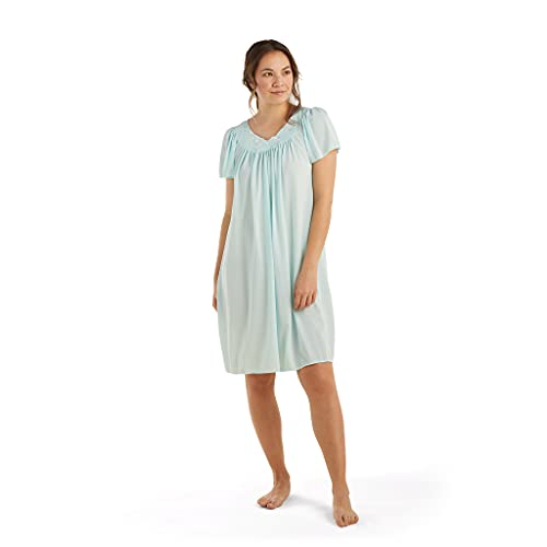Miss Elaine Women's Plus-Size Tricot Short Flutter Sleeve Nightgown, Sea Foam, 1X