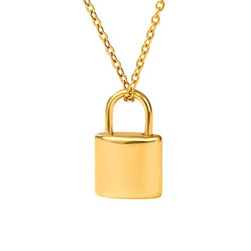 DARK DIAMOND - Colgante Padlock de acero inoxidable color dorado.