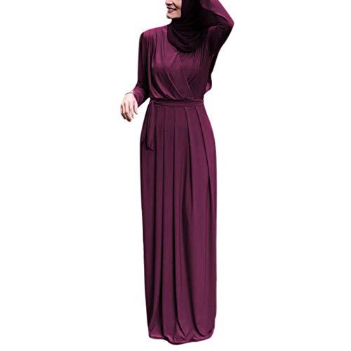 REALIKE Muslim Damen Einfarbig Langarm Kleid Tunika Abaya Dubai Elegant Kleider Maxikleid Abendkleid...