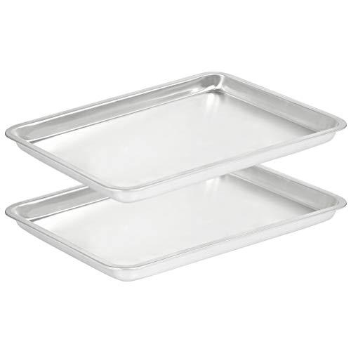 2 Packs Aluminum Sheet Pan, 15''x11'' x 1'' Baking Sheet Cookie Sheet, Nonstick Aluminum Half Sheet Baking Pan, Commercial Baker's Half Sheet, Silver