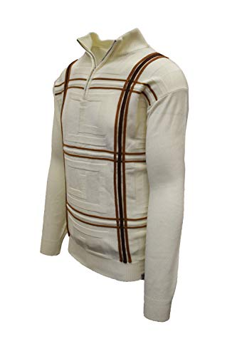 STACY ADAMS Men's Quarter Zipped Pullover Sweater (XL, F_Cream)