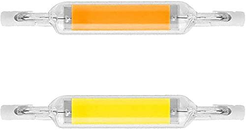 WEWQ Libai 2 PCS R7S Dimmable LED Bombilla 10W 78mm 110V / 220V COB Dimmable LED R7S Lámpara Lámpara Luz Lineal (reemplazo halógeno 100W) Ángulo de Haz de 360 °-Blanco cálido_110v