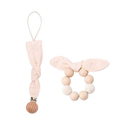 Mamimami Home Baby Aus Holz Beißring Bunny Ohr Armband Baumwolle Schnuller Clip Baby Shower Geschenke Set