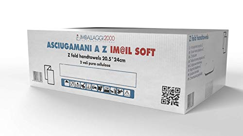 Imballaggi2000 - Salviette Asciugamani Monouso di Carta - Carta Asciugamani Piegati a Z per Dispenser - 1 Confezione da 3300 Pezzi