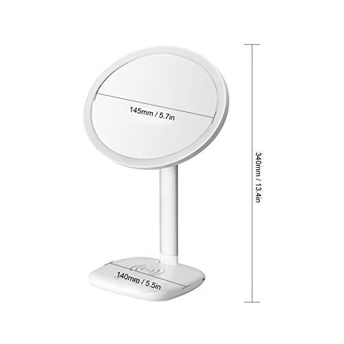 BOTEGRA Espejo de luz de Relleno, función de Carga inalámbrica Multifuncional Espejo de Maquillaje Lámpara de Escritorio portátil para iluminación para Maquillaje