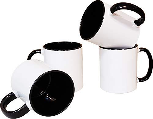 Mug Set of 4 Pieces 11 oz. Ceramic Coffee/Tea Mugs, All Blank White and Black inside with Black Handle-4-Set-Black
