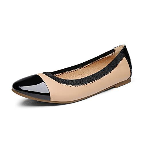 DREAM PAIRS Women's Sole-Flex Nude Black Ballerina Walking Flats Shoes - 9 M US