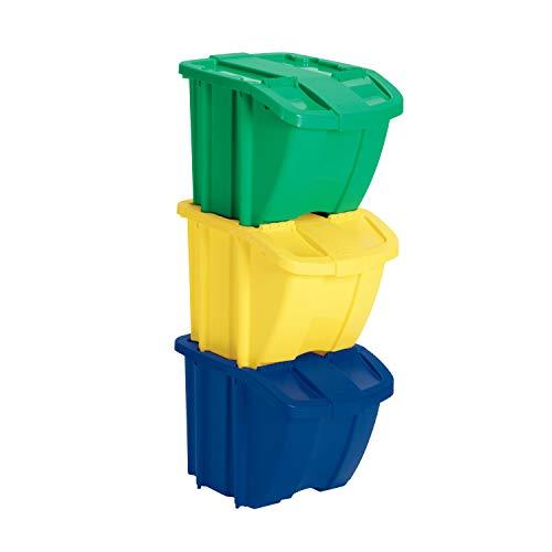 Suncast Indoor/Outdoor Stackable Recycle Bin Kit with Lids, Multi-Colored