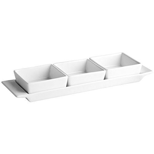 Moonlight Rectangular Tray with 3 Serving Dishes - White Porcelain Dip Bowl...