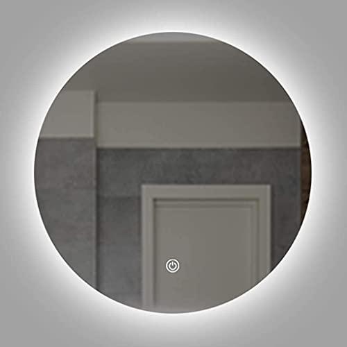 Espejo baño, Iluminación redonda de espejo retroiluminada con la función de desgaste con la función de descomposición inteligente HD a prueba de explosiones espejo de plata a prueba de agua Cinturón d