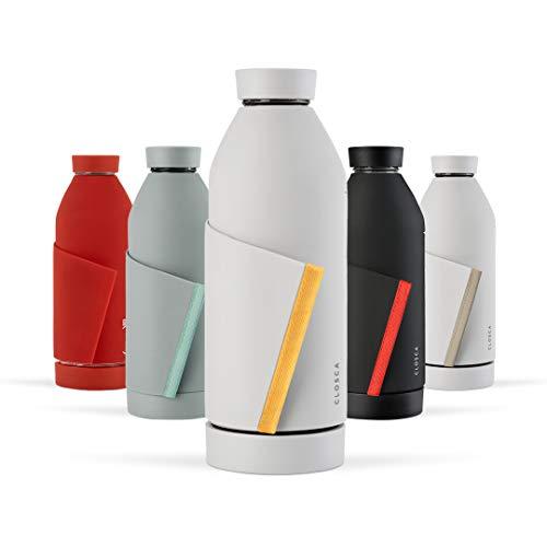 Closca Botella de Agua de Cristal 420ml Bottle. Cantimplora de Vidrio Libre de BPA. Doble Apertura y Solapa Elástica para fácil Transporte. (White/Savannah)