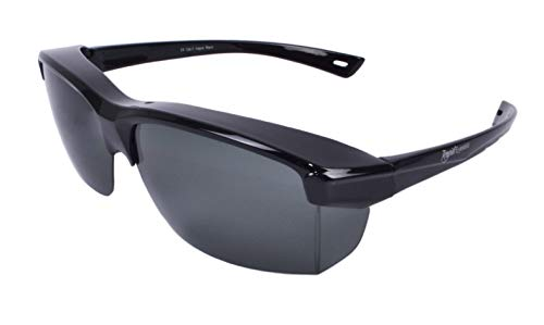 Rapid Eyewear 'Vogue' Schwarz SONNENÜBERBRILLE für Herren und Damen. Polarisiert Überbrille: Über Breite Gläser bis 140mm Passen. Benutzen als Sportbrille, Autobrille, Fahrradbrille etc.