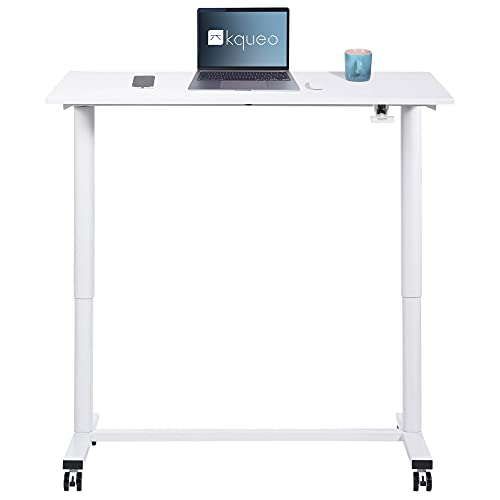 Kqueo - Escritorio sentado de pie con bandeja de 100 x 60 cm, mesa regulable, altura de 73 a 112 cm, resorte neumático, Light 100 (blanco)
