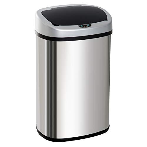 HOMCOM Automatik Mülleimer Abfalleimer mit Infrarotsensor Kücheneimer 48L Silber L40,9 x B28,9 x H64,3 cm