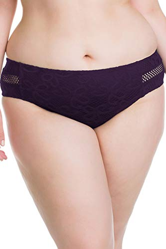 Becca Etc by Rebecca Virtue Women's Plus Size Netting Tab Side Hipster Bikini Bottom Plum 2X