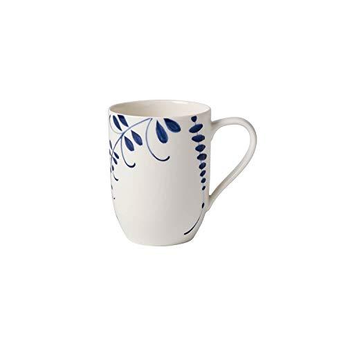 Villeroy & Boch Vieux Luxembourg Brindille Kaffeebecher, Geschirr aus hochwertigem Premium in Blau, 370 ml, Porzellan, Weiß, Becher mit Henkel
