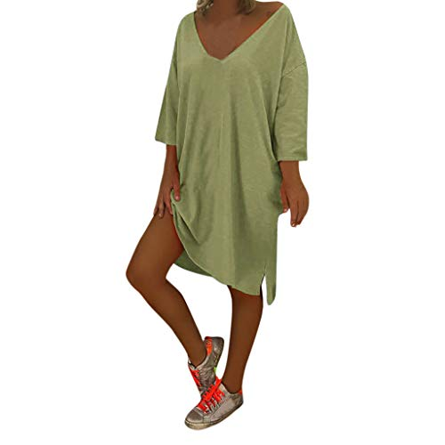 Best Buy! WENOVL Summer Dresses for Women,Women V Neck Feminino Vesti Caftan Boho Beach Cover Plus Size Ladies Baggy Dress Green