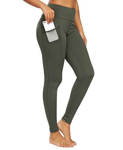 QUEENIEKE Damen Yoga Leggings Power Flex Mesh Mittlere Taille 3 Handytasche Gym Laufhose Farbe Dunkelgrün Größe S(4/6)