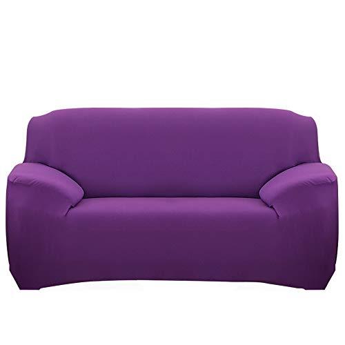 Ryoizen Fundas para Sofa Elástica 1/2/3/4 Plazas Cubre Sofá Universal Cubierta de Sofá de Color Sólido Protector de Sofá o Sillón Lavable Duradera(Violeta,195-230cm)