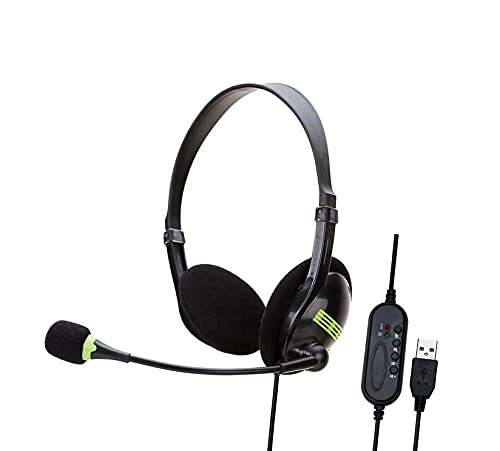 Rehomy Auriculares USB con micrófono en la oreja con interruptor de...