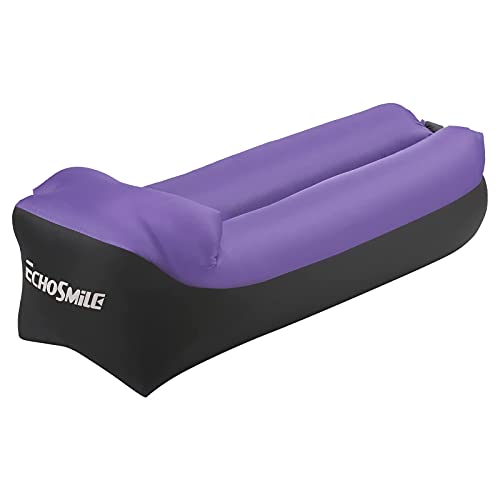 EchoSmile Ergonomic Outdoor Inflatable Sofa, Perfect for Camping Hiking and Park,Water Proof and Air Leak Proof Camping, Chair Bed or Portable Hammock with Compression Bag Without Pump,Purple