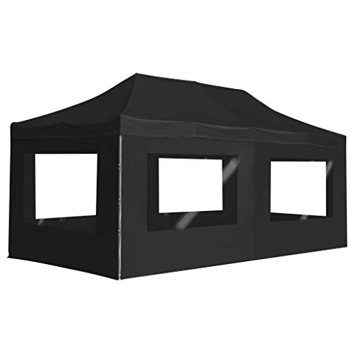 Professional party tent folding with walls aluminium alloy garden tent waterproof UV protection tent 6 x 3 m black