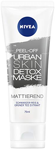 Nivea Peel-Off Urban Skin Detox masker in 6-pack (6 x 75 ml), ontgiftend gezichtsmasker met zwarte rijst en groene thee-extract, poriënverfijnende gezichtsverzorging