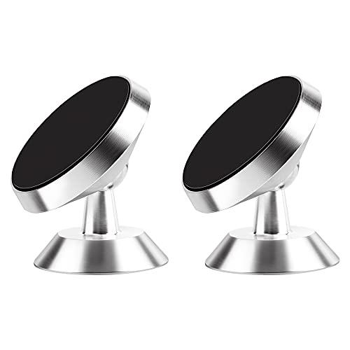 [2 Pack] TIQUS Magnetic Phone Mount Super Strong Magnet car Magnetic Phone Holder, 360° Rotation Universal Dashboard car Mount Fits Most Smartphones Silver