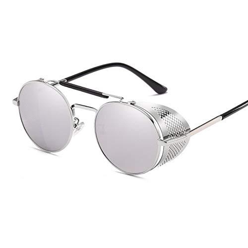 NJJX Gafas De Sol Steampunk Redondas Retro Para Hombres Y Mujeres, Gafas De Protección Lateral, Montura Metálica, Lentes De Espejo Góticas, Gafas De Sol Plateadas