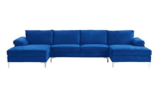 BHDesign Amanda XL New – Divano angolare Panoramique Xtra Large – Moderno – Velluto – Colore Blu