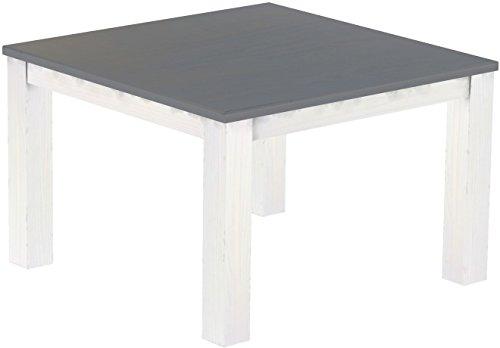 Brasilmöbel Esstisch Rio Classico 120x120 cm Seidengrau Weiß Massivholz Pinie Holz Esszimmertisch Echtholz Größe und Farbe wählbar ausziehbar vorgerichtet für Ansteckplatten