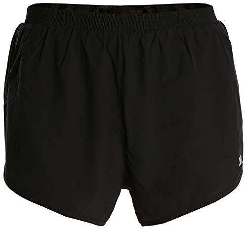 Fort Isle Men's Short Running Racing Shorts - L - Black - Lightweight Breathable Gym Jogging