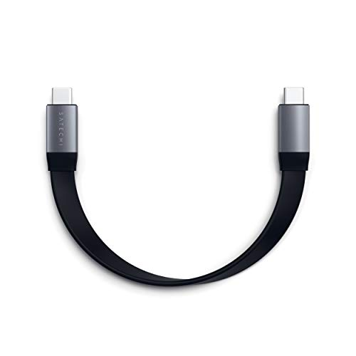 Satechi USB-C to USB-C Gen 2 Flat ケーブル USB 10 Gbps, 4K 60Hz ビデオ, 83W 急速充電 (iPad Pro, MacBook Proなど対応)