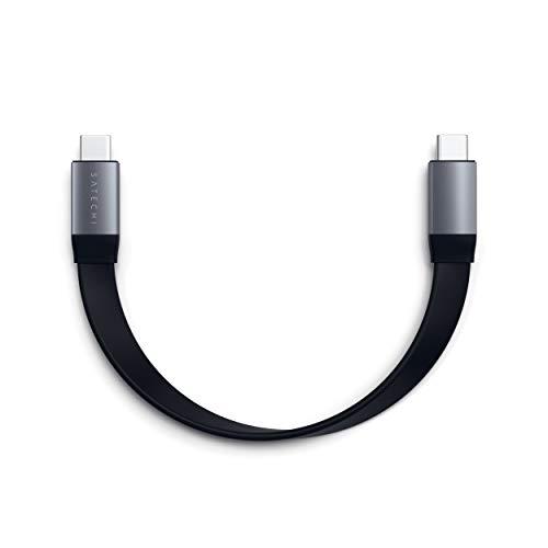 Satechi USB-C zu USB-C Gen 2 Flachkabel (21.5cm) - SuperSpeed USB 10 Gbps, 4K@60Hz Video, 83W Schnell-Ladefunktion - Kompatibel mit 2020/2018 iPad Pro, 2020/2019 MacBook Pro, 2020/2018 MacBook Air