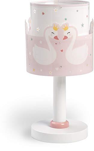 Dalber Sweet Love Lámpara Infantil Mesilla Cisnes, 40 W, Rosa