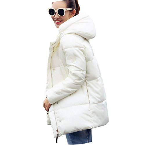 Small-shop&Woolen cloth coat Damen Daunenjacke mit Kapuze und Dicker Daunenparka für Damen - weiß - X-Groß