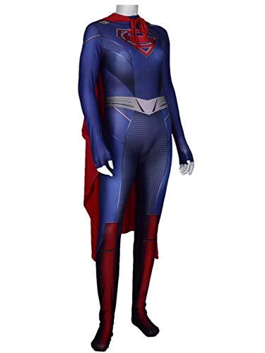 NVHAIM Traje de Cuerpo de Supergirl Cuerpo con Manto, Halloween Cosplay Traje Ajustado Conjunto de fantasa Fiestas Fiestas de Baile Adulto,Women XXL