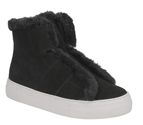 DKNY Womens Mason-High Top SNE Leather Hight Top Pull On, Black, Size 8.5