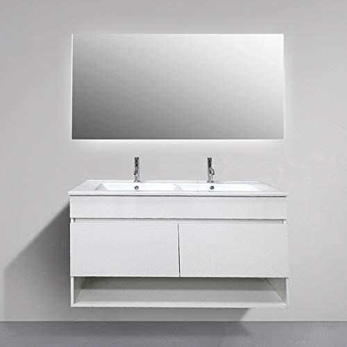 DUCHA-ES Mueble de baño suspendido Hera con Espejo y Lavabo de Dos Senos 120 cm