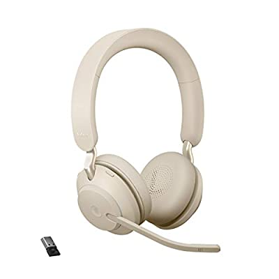 Jabra Evolve2 65 Wireless PC Headset – Noise Cancelling Microsoft Teams Certified Stereo Headphones With Long-Lasting Battery – USB-A Bluetooth Adapter – Beige by Jabra
